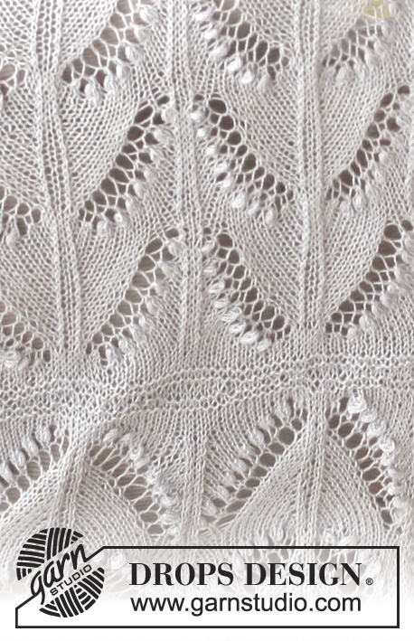 "Soft Spring / DROPS 138-14 - Knitted DROPS shawl with lace pattern and bobbles in ""Lace""."