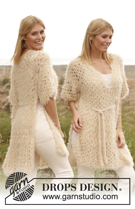 "Beach Princess / DROPS 138-16 - Knitted DROPS poncho with lace pattern in ""Symphony"" or Melody. Size: S - XXXL."