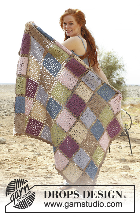 "Romantic Memories / DROPS 138-32 - Crochet DROPS blanket with squares in ""Lima""."