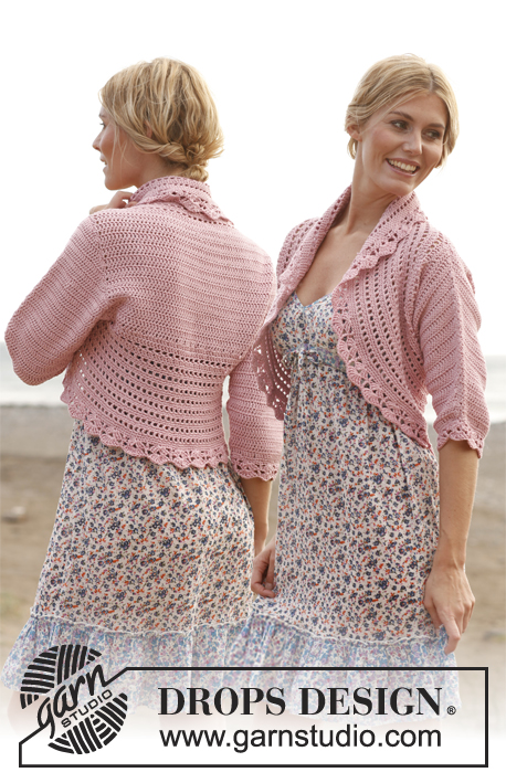 Country Rose / DROPS 138-6 - Crochet DROPS jacket in Cotton Light and Glitter. Size S-XXXL.