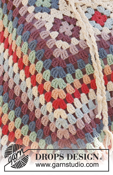 "Summer of 69 / DROPS 139-1 - Crochet DROPS poncho with granny squares and dtr-groups in ""Paris""."