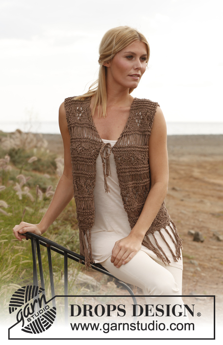 Claudia / DROPS 139-23 - Knitted DROPS vest with textured pattern, dropped sts and fringes in Bomull-Lin and Cotton Viscose. 