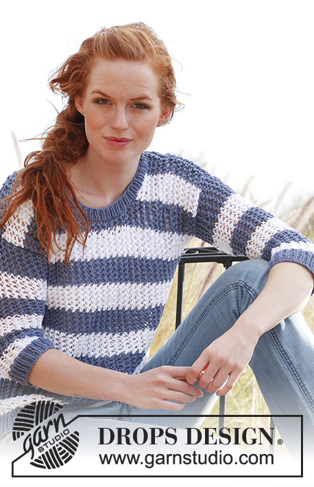 Santorini Blue / DROPS 139-33 - Knitted DROPS jumper with lace pattern in Paris. Size S-XXXL