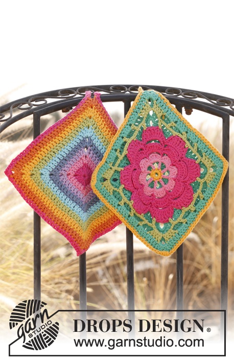 "Kitchen Wiz / DROPS 139-35 - Set consists of: Crochet DROPS pot holder with flower in ""Paris"" and Pot holder with stripes in ""Paris""."