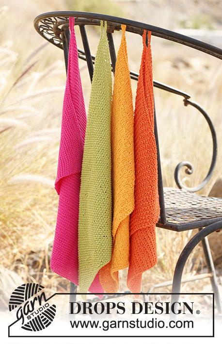 """Summer Spices / DROPS 139-37 - DROPS pletené ručníky z různých vzorů z příze """"Safran""""."""