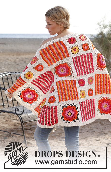 "Orange Blossom / DROPS 139-39 - Crochet DROPS blanket with different squares in ""Paris""."
