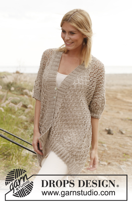"Melanie / DROPS 139-7 - Knitted DROPS jacket with lace pattern in ""Lin"" and Belle."