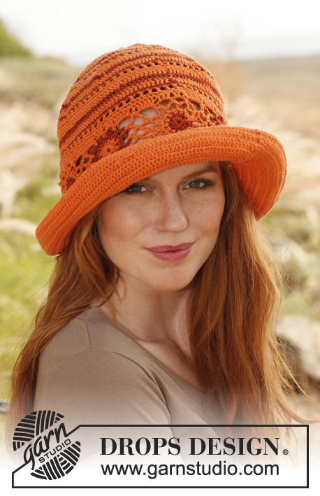 Summer Harmony / DROPS 139-8 - Crochet DROPS hat in Safran and Cotton Viscose.
