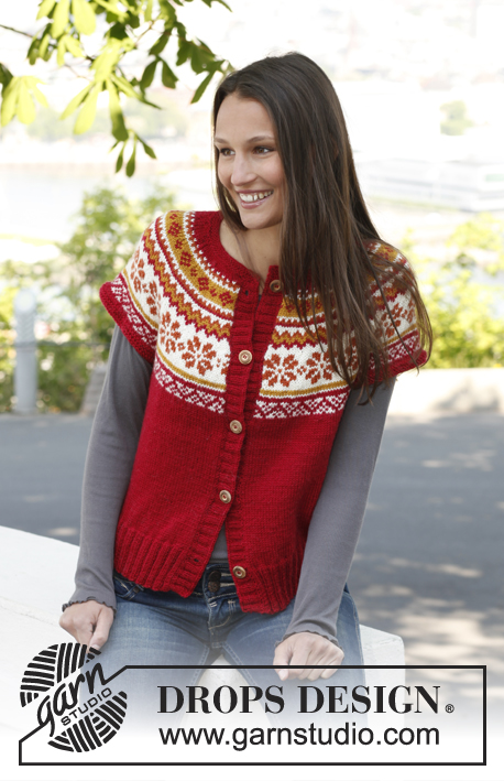 Sweet Scarborough / DROPS 140-10 - Knitted DROPS vest with round yoke and Norwegian pattern in Karisma.