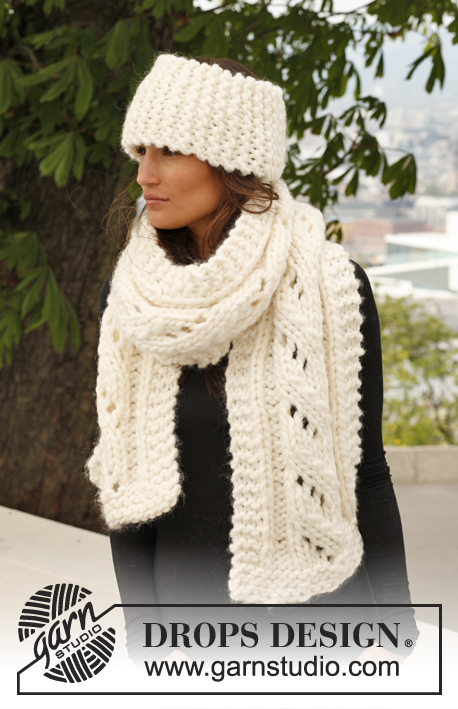 Fluffy Comfort / DROPS 140-12 - Set consists of: Knitted DROPS scarf with lace pattern and head band in garter st in Polaris.