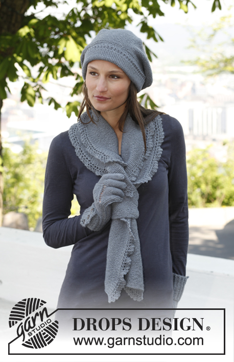 Emily / DROPS 140-38 - Knitted DROPS beret and scarf in garter st with lace edges in BabyAlpaca Silk.