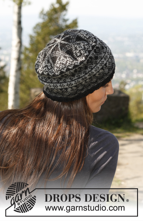 "Halifax / DROPS 140-42 - Knitted DROPS hat with pattern in ""Delight"" and ""Fabel""."