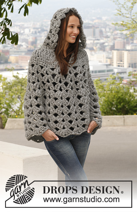 "Raffinement / DROPS 140-44 - Crochet DROPS poncho with hood in 1 thread ""Polaris"" or 2 threads Cloud. 