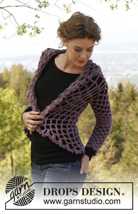 "Dalie Delight / DROPS 141-1 - Crochet DROPS jacket worked in a circle in ""Andes"". 