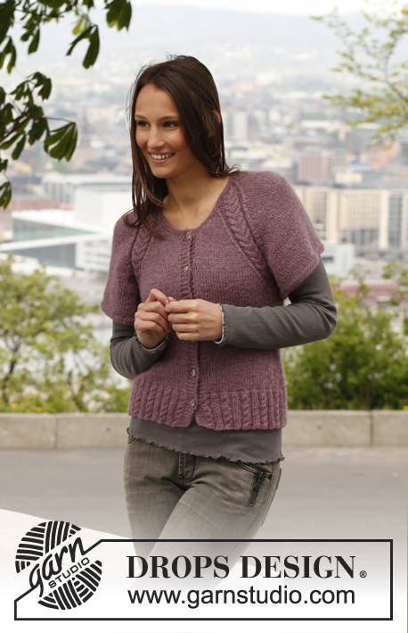 "Lavender Glory / DROPS 141-15 - Knitted DROPS jacket with short, wide sleeves, raglan and cable rib in ""Alpaca"" and ""Kid-Silk"". Size: S - XXXL."