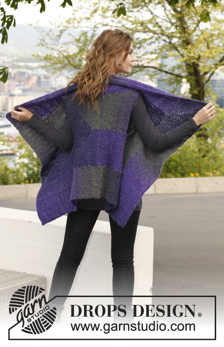 Iben / DROPS 141-17 - Knitted DROPS vest with short rows in Verdi. Size S-XXXL.