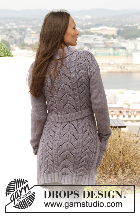 "Birch Leaves / DROPS 141-19 - Knitted DROPS jacket with cables, lace pattern and band collar in ""Nepal"". Size: S - XXXL."