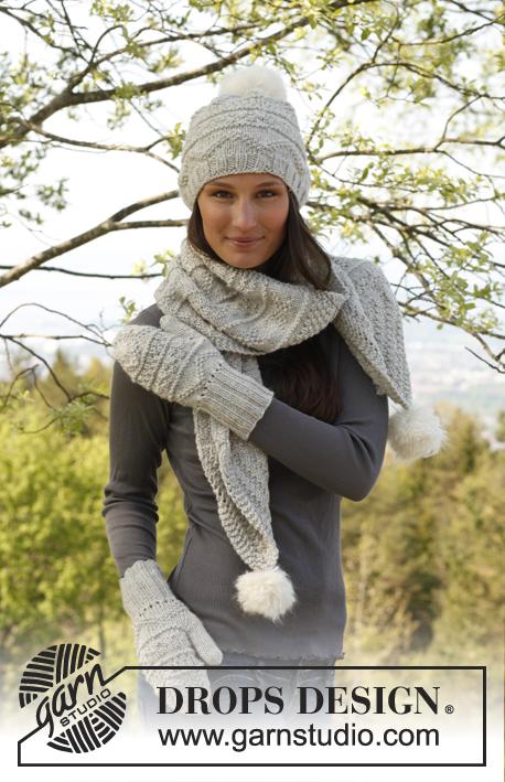 Free Knitting Patterns Hat Scarf Mittens : Smilla / DROPS 141-22 - Free knitting patterns by DROPS Design