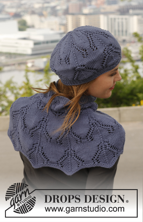 "Midnight Boheme / DROPS 141-4 - Knitted DROPS hat and shoulder warmer with lace pattern in ""Merino Extra Fine""."