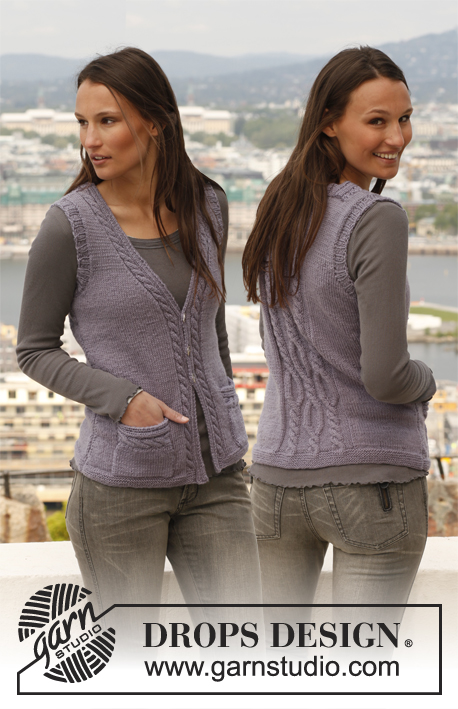 "Sarah's Delight / DROPS 141-40 - Knitted DROPS vest with cables in ""Karisma"". Size: S - XXXL."