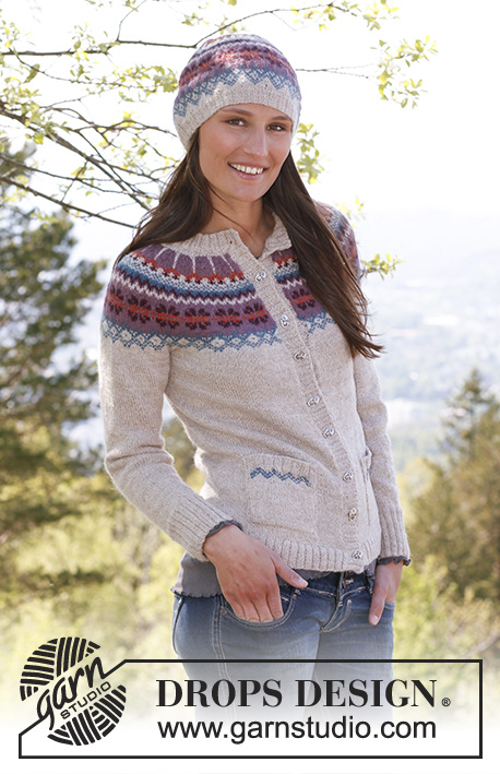 "Bergen / DROPS 142-1 - Knitted DROPS jacket with round yoke, pockets and Norwegian pattern in ""Alpaca"". Size XS – XXXL"
