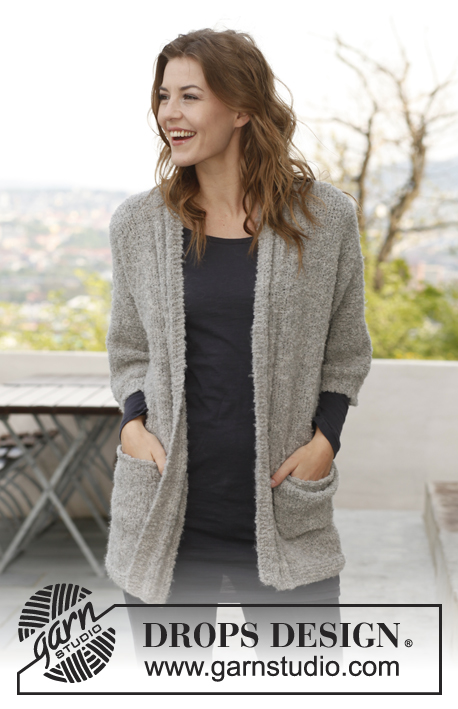 "Snuggle / DROPS 142-21 - Set consists of: Knitted DROPS jacket and neck warmer in ""Alpaca Bouclé."" Size: S - XXXL."