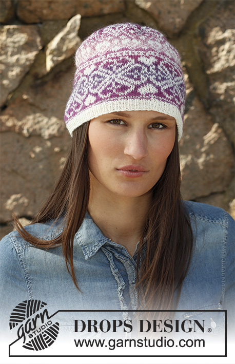 "Montreal / DROPS 142-5 - Knitted DROPS hat with pattern in ""Delight"" and ""Fabel""."