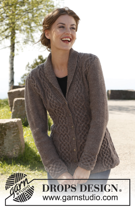"Celtica / DROPS 143-1 - Knitted DROPS fitted jacket with cables and shawl collar in ""Lima"". Size: S - XXXL."