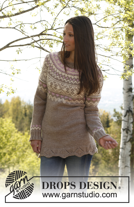 "Anny / DROPS 143-14 - Knitted DROPS tunic with short sleeves, round yoke and pattern in ""Nepal"". Size: S - XXXL."