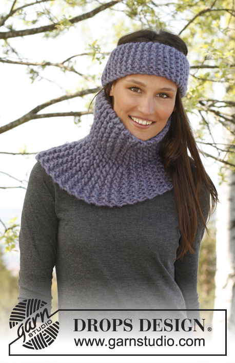 Luna / DROPS 143-35 - Set consists of: Knitted DROPS neck warmer and head band in garter st in Polaris.