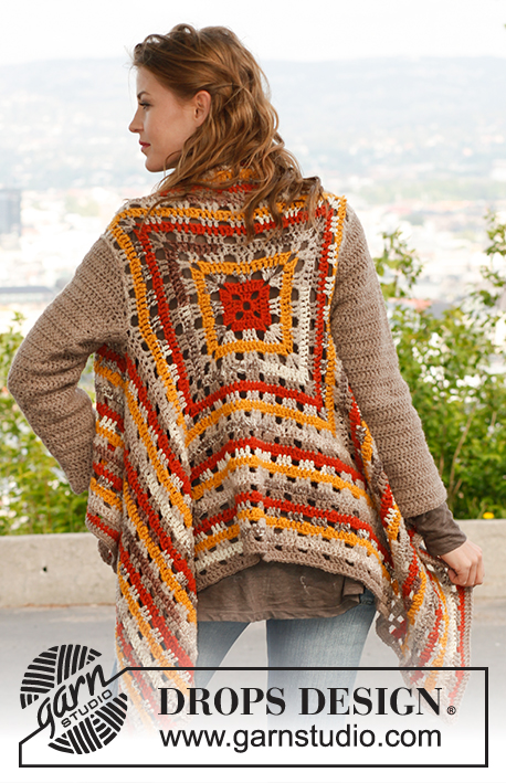 "Jennifer / DROPS 143-38 - Crochet DROPS jacket in ""Nepal"", ""Big Fabel"" and ""Alpaca Bouclé"". Size: S - XXXL."
