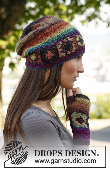 "Magic / DROPS 143-40 - Crochet DROPS moebius neck warmer and hat with squares in ""Delight""."