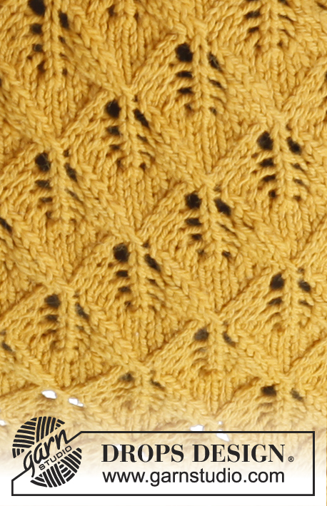 "Andalousie / DROPS 143-43 - Knitted DROPS shawl with lace pattern and in garter st in ""Nepal""."