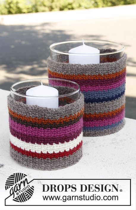 Cottage candle / DROPS 144-21 - Set consists of: Crochet DROPS large and small cover for glass vase with stripes in Karisma.