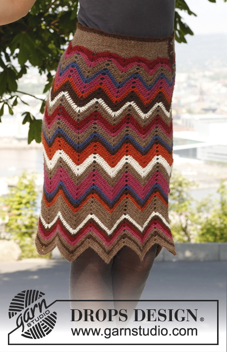 "Dazzle / DROPS 144-5 - Crochet DROPS skirt with zigzag pattern in ""Alpaca"".  Size S-XXXL"