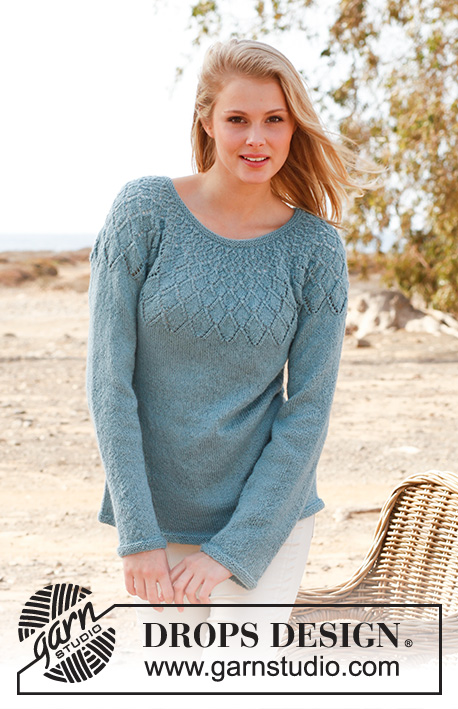 "Sweet Harlequin / DROPS 145-17 - Knitted DROPS jumper with lace pattern and round yoke in ""BabyAlpaca Silk"". Size: S - XXXL."