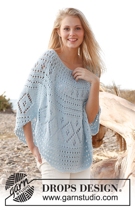 Blue breeze / DROPS 145-18 - Knitted DROPS poncho in Paris. Size: S - XXXL.