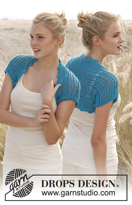 "Sea Shrug / DROPS 145-20 - Knitted DROPS bolero with lace pattern in ""Cotton Light"". Size: S - XXXL."