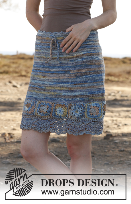 Blue dream / DROPS 145-22 - Crochet DROPS skirt with squares in Fabel. Size: S - XXXL.