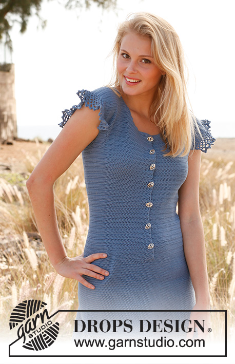 "Campanula / DROPS 145-9 - Crochet DROPS dress with buttons at the front and flounce in ""Safran"". Size S-XXXL"