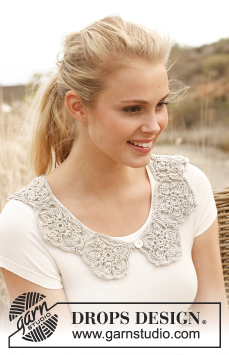 Venice / DROPS 146-12 - Crochet DROPS collar with pentagons in Cotton Viscose.