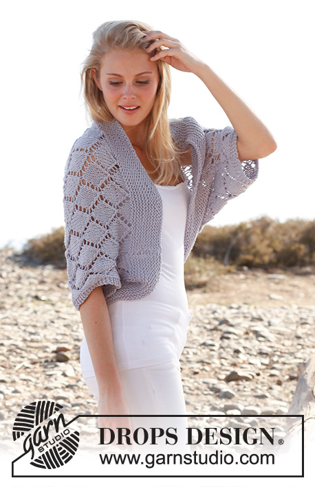 "Cassie / DROPS 146-16 - Knitted DROPS bolero with lace pattern in ""Big Merino"". Size: S - XXXL."