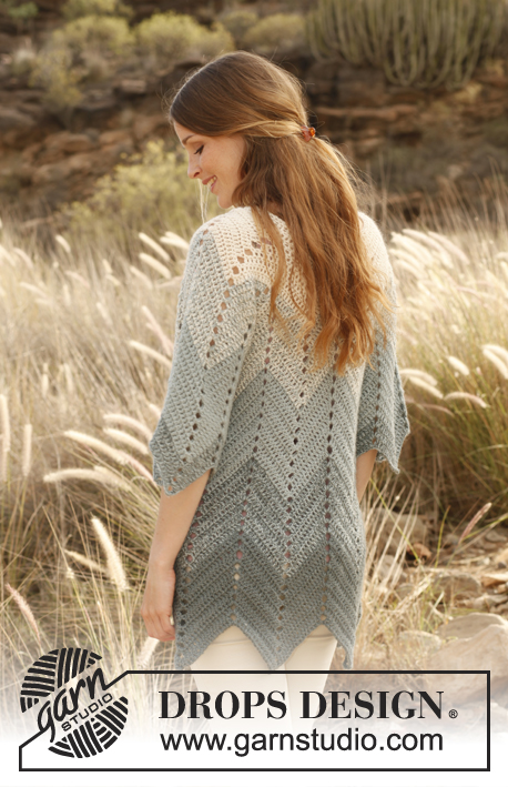 Sea Waves / DROPS 147-10 - Crochet DROPS jacket with zig-zag pattern in 2 strands Alpaca. Size: S - XXXL.