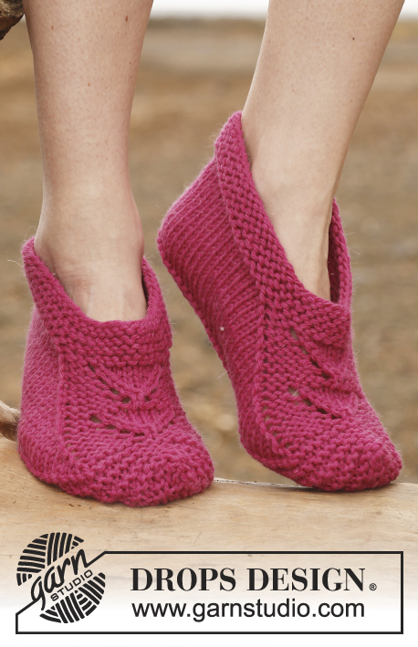 Jane / DROPS 147-19 - Knitted DROPS slippers with 1 thread Big Fabel or 2 threads Fabel.