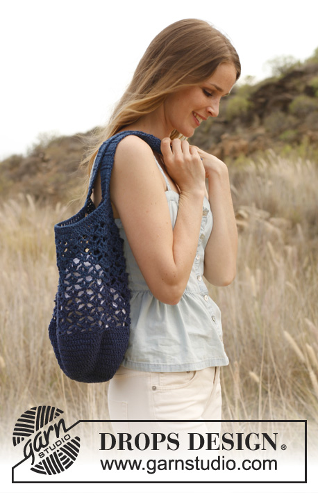 Jean / DROPS 147-22 - Crochet bag/tote bag in DROPS Bomull-Lin or DROPS Paris