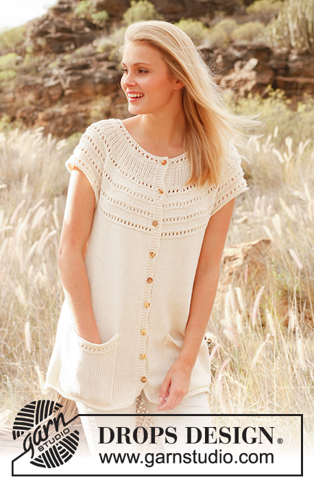 Liv / DROPS 147-3 - Knitted DROPS sleeveless jacket with round yoke and pockets in Cotton Light. Size: S - XXXL.