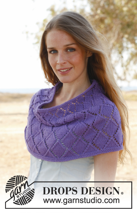 "Lillac / DROPS 147-34 - Knitted DROPS shoulder warmer with lace pattern in ""Cotton Light"". Size S-XXXL"