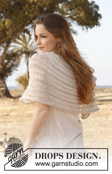 "Air / DROPS 147-36 - Knitted DROPS shoulder piece in ""Alpaca Bouclé"" and ""Lace"". Size: S - XXXL."