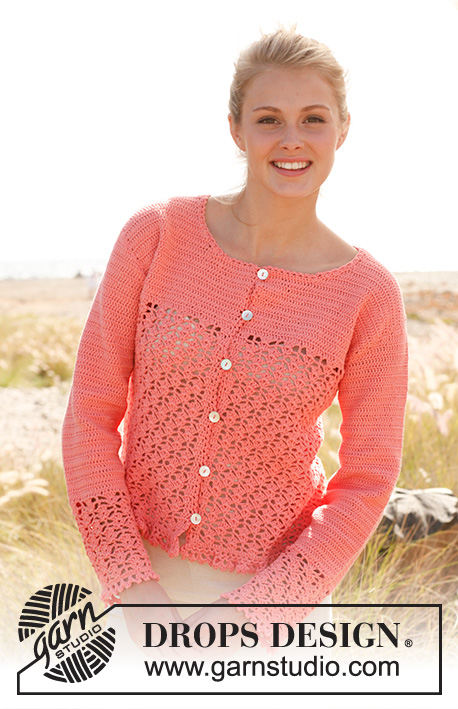"Peach blossom / DROPS 147-38 - Crochet DROPS jacket with lace pattern and flounce at the bottom in ""Safran"".  Size S - XXXL"