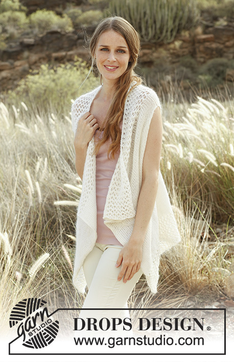 "Claire / DROPS 147-40 - Knitted DROPS vest in ""Alpaca"" and ""Kid-Silk"". Size: S - XXXL."
